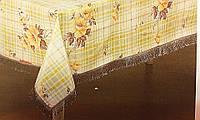 Скатерть кухонная с цветочками на клетчатом фоне Винил, фото 1