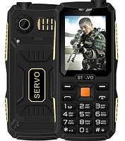 Противоударный телефон Servo V3 -  4 sim, фонарик, black , фото 1