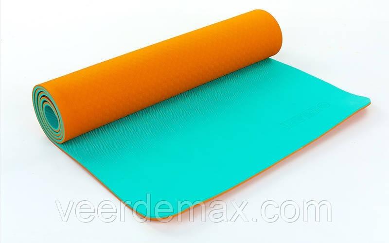 Коврик для йоги и фитнеса Yoga mat 2-х слойный TPE+TC 6mm FI-5172-1 ( 1.73*0.61*6mm) оранж-мятный