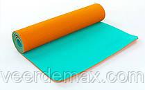 Килимок для йоги та фітнесу Yoga mat 2-х шаровий TPE+TC 6mm FI-5172-1 ( 1.73*0.61*6mm) оранж-м'ятний