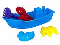 Игрушечная Лодка с пасками, лопаткой, граблями 01-115