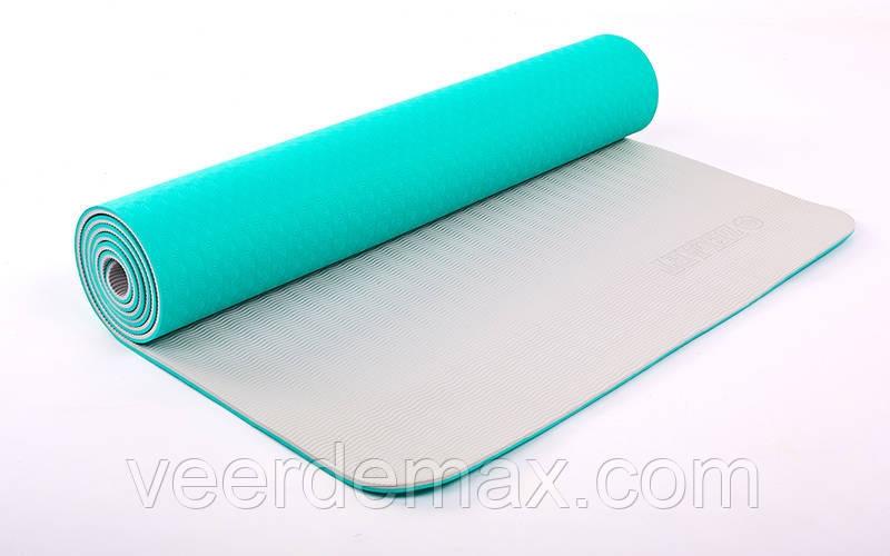 Коврик для йоги и фитнеса Yoga mat 2-х слойный TPE+TC 6mm FI-5172-3 ( 1.73*0.61*6mm) мятно-голубой