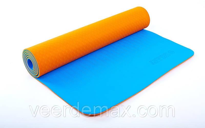 Коврик для йоги и фитнеса Yoga mat 2-х слойный TPE+TC 6mm FI-5172-5 ( 1.73*0.61*6mm) оранж-синий