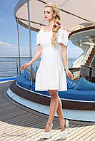 Легкое воздушное платье перфорированный с вышивкой батист 44-50 размеры, фото 1