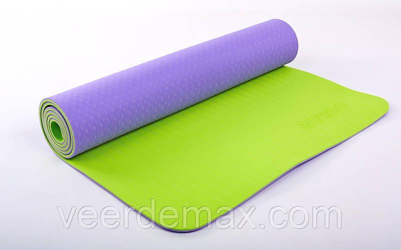 Коврик для йоги и фитнеса Yoga mat 2-х слойный TPE+TC 6mm FI-5172-9 ( 1.73*0.61*6mm) сиреневый-салатовый