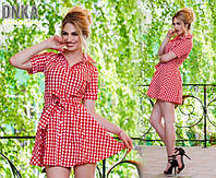 Платье рубашка Клетка Красная Туника с воротником Натуральная Лёгкая Ткань под пояс
