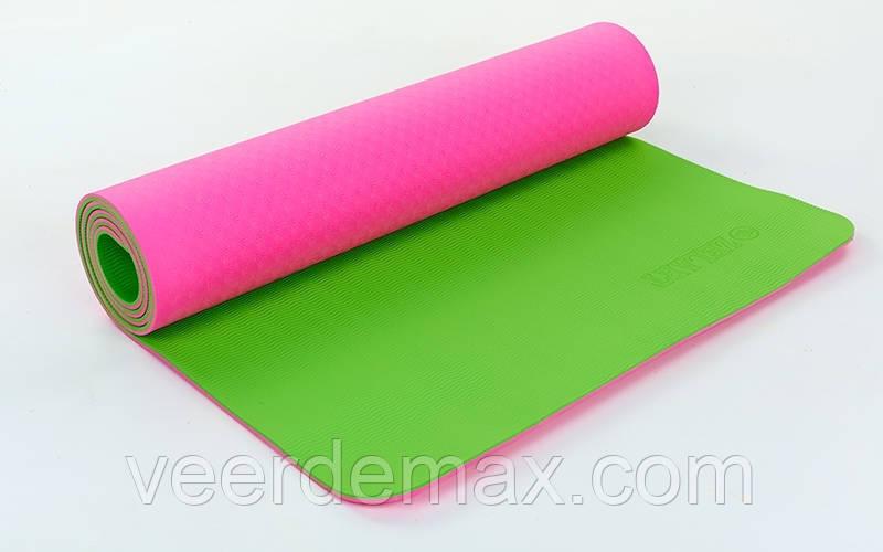 Коврик для йоги и фитнеса Yoga mat 2-х слойный TPE+TC 6mm  ( 1.73*0.61*6mm) малиново-салатовый