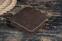 Мужской кожаный кошелек ручной работы, коричневый
