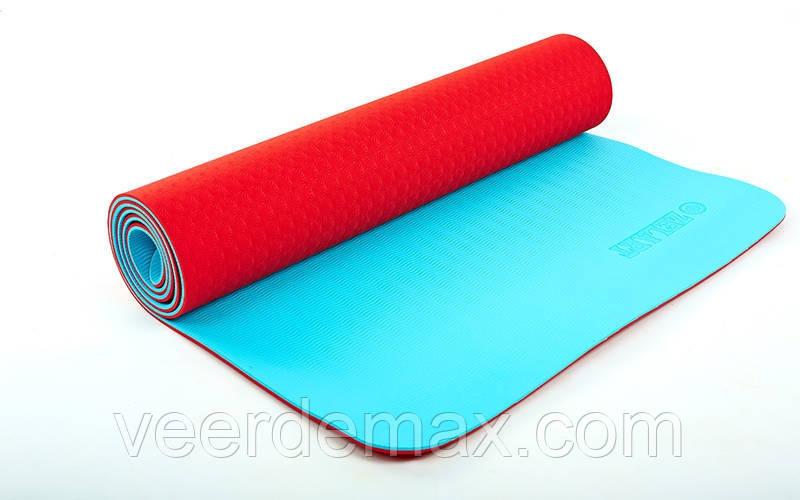 Коврик для йоги и фитнеса Yoga mat 2-х слойный TPE+TC 6mm FI-5172-14 ( 1.73*0.61*6mm) красный -голубой