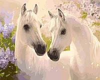 Картина по номерам без коробки Идейка Белые лошади (KHO2433) 40 х 50 см