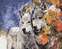 Картина по номерам без коробки Идейка Пара волков  (KHO2434) 40 х 50 см
