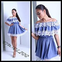 Женское нежное летнее платье с кружевом