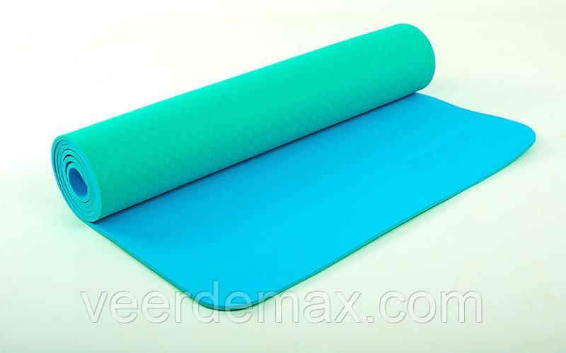Коврик для йоги и фитнеса Yoga mat 2-х слойный TPE+TC 6mm FI-5172-7 ( 1.73*0.61*6mm) мятный -голубой