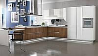 Кухня на заказ BLUM-007 c крашеными фасадами + шпон