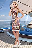 Пряме літнє плаття з принтом тигр 44-50 розміри, фото 1
