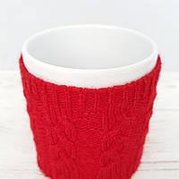 Чашка в чехле Ohaina  в косы 10х10  цвет красный, фото 1