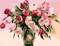 Живопись по цифрам без коробки KHO1072 Тюльпаны в вазе (40 х 50 см) Идейка