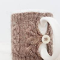 Чашка в чехле Ohaina  в косы 10х10  цвет карамель, фото 1