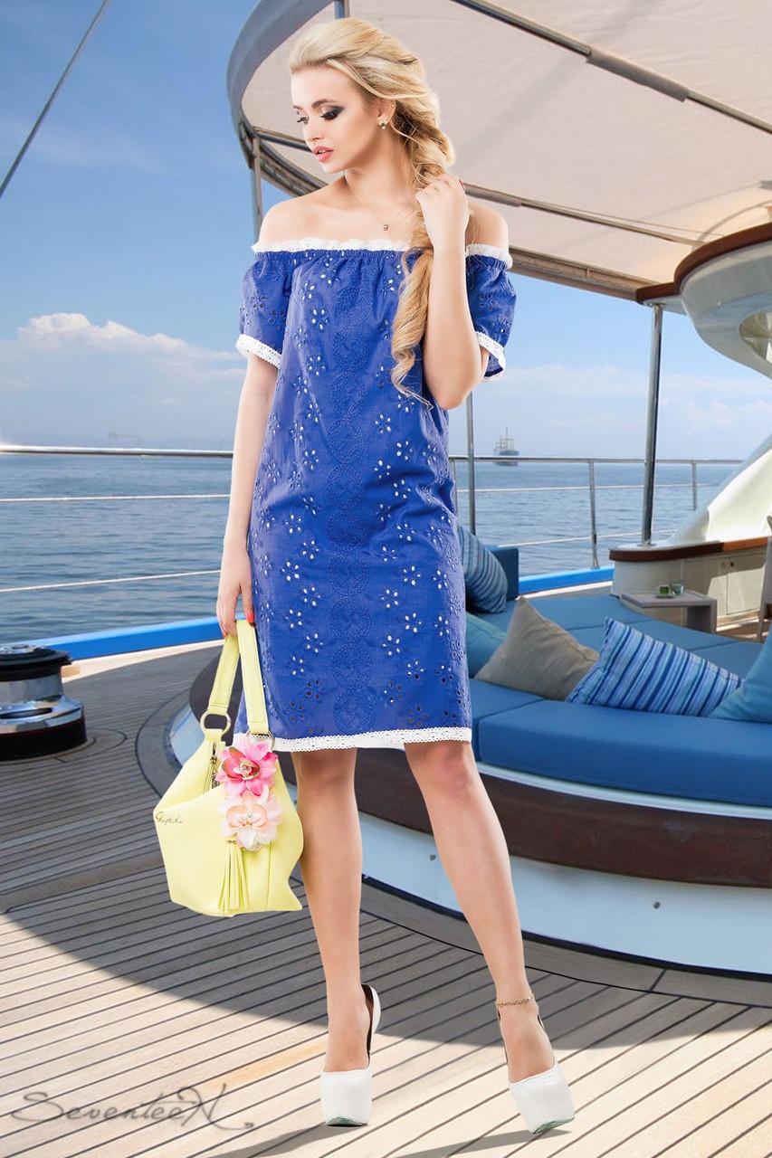 e3be6c42dd3 Летнее платье прямого покроя из батиста перфорированного на вискозной  подкладке 42-52 размеры - 💎