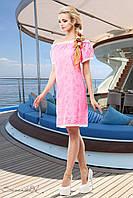 Летнее платье прямого покроя из батиста перфорированного на вискозной подкладке 42-52 размеры
