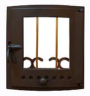 Чугунная каминная дверца со стеклом - VVK 39x41см-35x36см