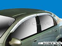 Хромированные ветровики, дефлекторы окон на Chevrolet Aveo 2002-2005 (Autoclover/Корея)