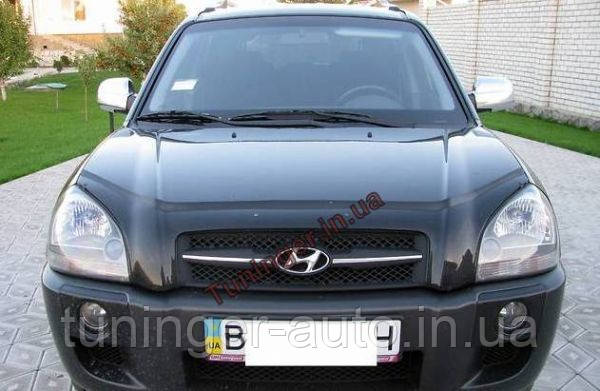 Мухобойка, дефлектор капота Hyundai Tucson 2004-2011 (Vip)