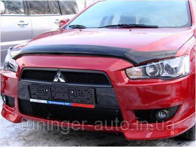 Мухобойка, дефлектор капота Mitsubishi Lancer X 2007- (Sim)