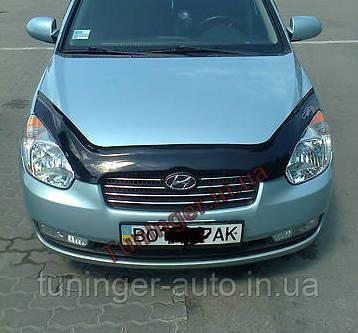 Мухобойка, дефлектор капота Hyundai Accent 2006-2009 (VIP)