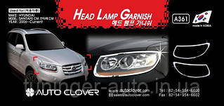 Хром накладки на фары,Окантовка фар Hyundai SantaFe 2006-2012