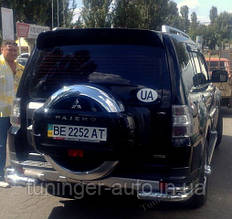 Защита заднего бампера (Углы) Pajero Wagon 2006-