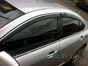 Ветровики с хромом, дефлекторы окон Mazda 6 2008->