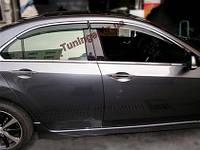 Ветровики с хромом, дефлекторы окон Honda Accord EURO 2008->