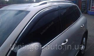 Ветровики с хромом,дефлекторы окон Volkswagen Touareg 2011->
