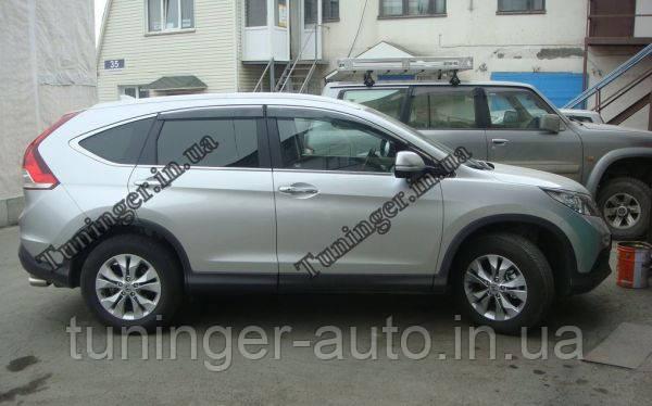 Вітровики з хромом, дефлектори вікон Honda CR-V New 2012->