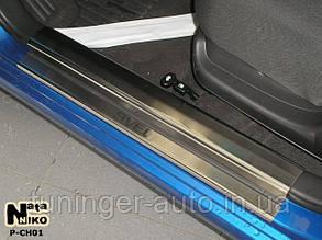 Накладки на внутренние пороги Chevrolet Aveo I/II 2002-  (Nata-Niko)