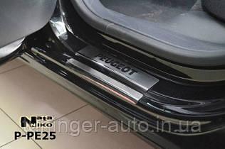 Накладки на пороги Peugeot 208 5D 2013- (Nata-Niko)