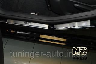 Накладки на пороги Peugeot 408 5D 2012- (Nata-Niko)