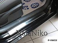 Накладки на пороги Volkswagen Polo IV 5D 2001-2009 (Nata-Niko)