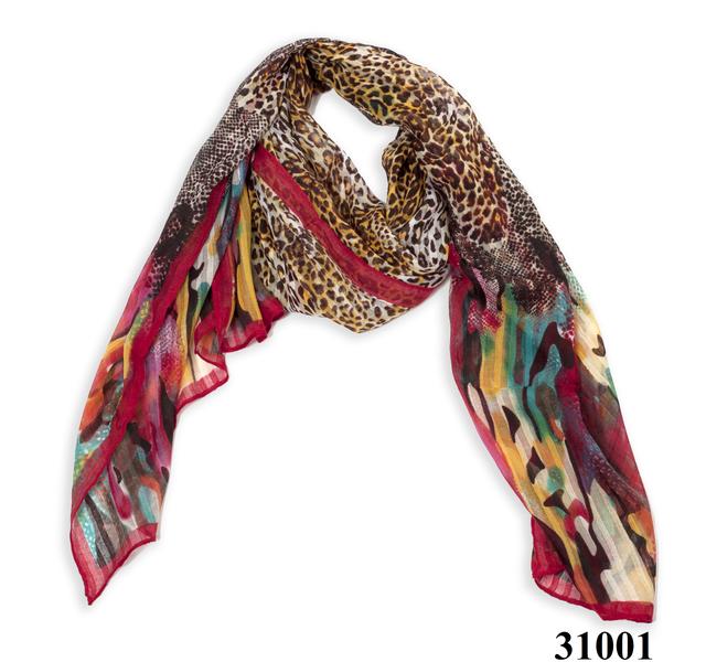 Леопардовый бордовый шарф 1