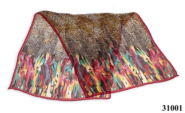Леопардовый бордовый шарф 2