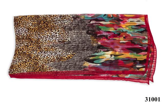 Леопардовый бордовый шарф 4