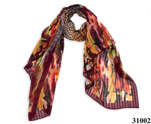 Леопардовый каштановый шарф 1