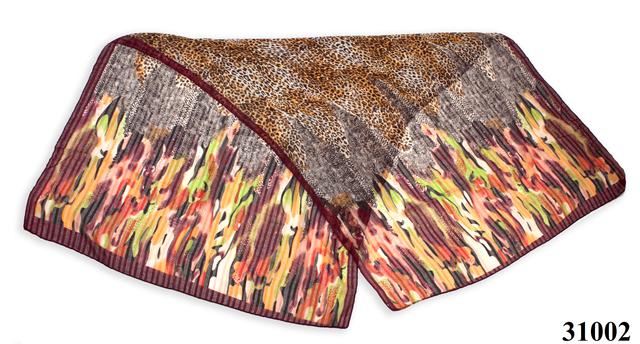Леопардовый каштановый шарф 2