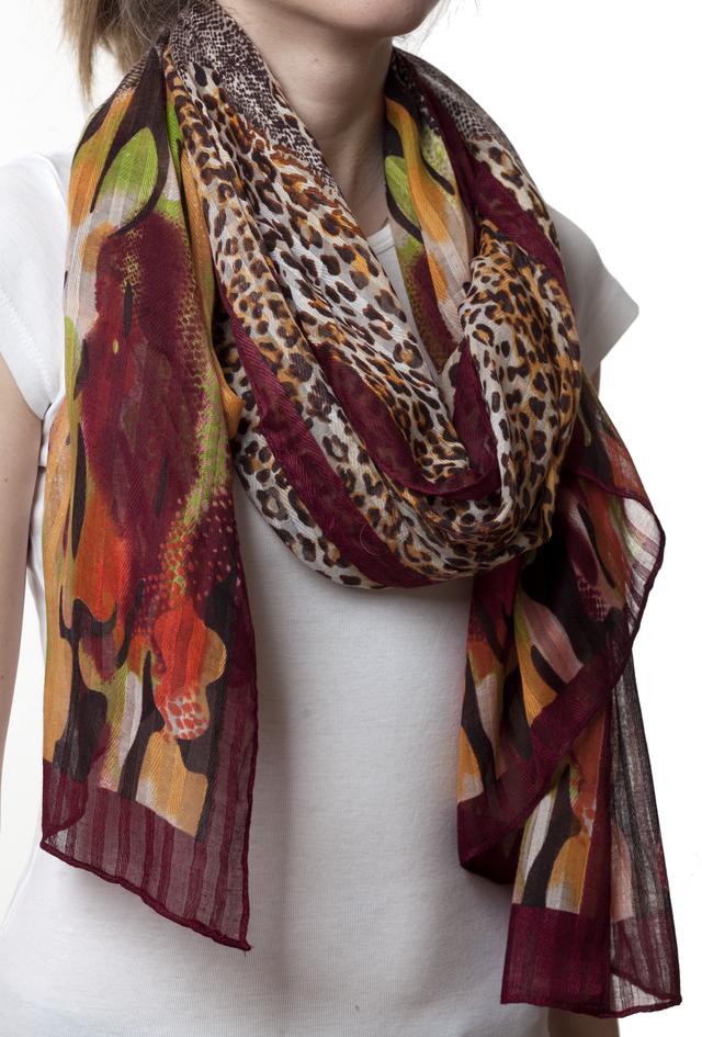 Леопардовый каштановый шарф 3