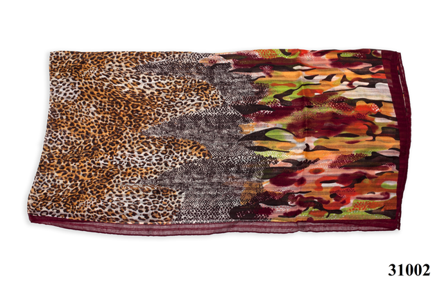 Леопардовый каштановый шарф 4