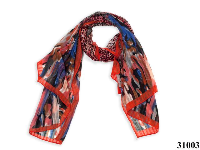Леопардовый красный шарф 1