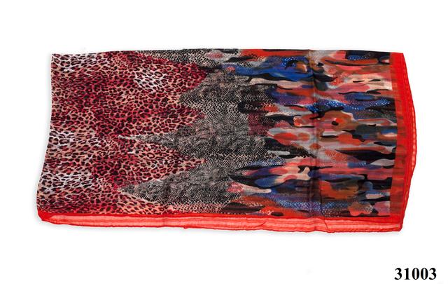 Леопардовый красный шарф 4