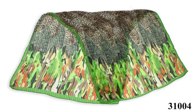 Леопардовый зеленый шарф 2