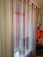 Нитяные шторы (кисея) Бордово-серебряные